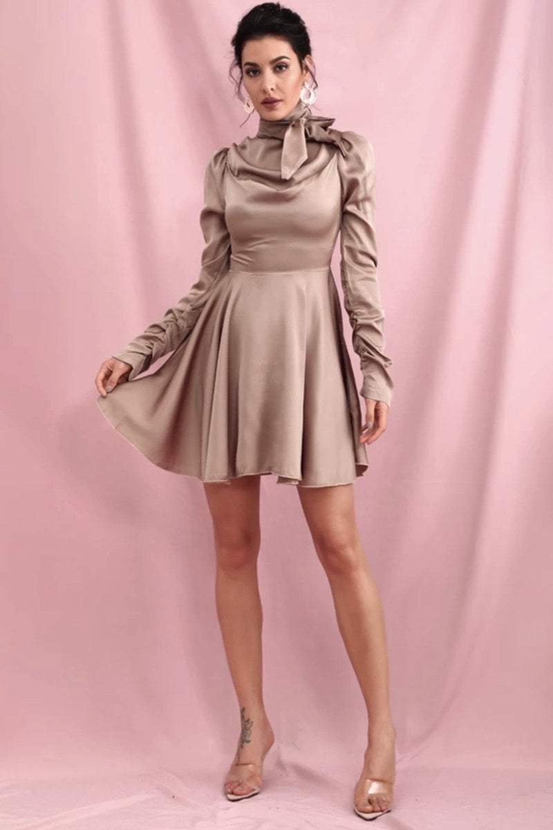 Jessica Bara Kimberlie Long Sleeve High Neck Mini Dress