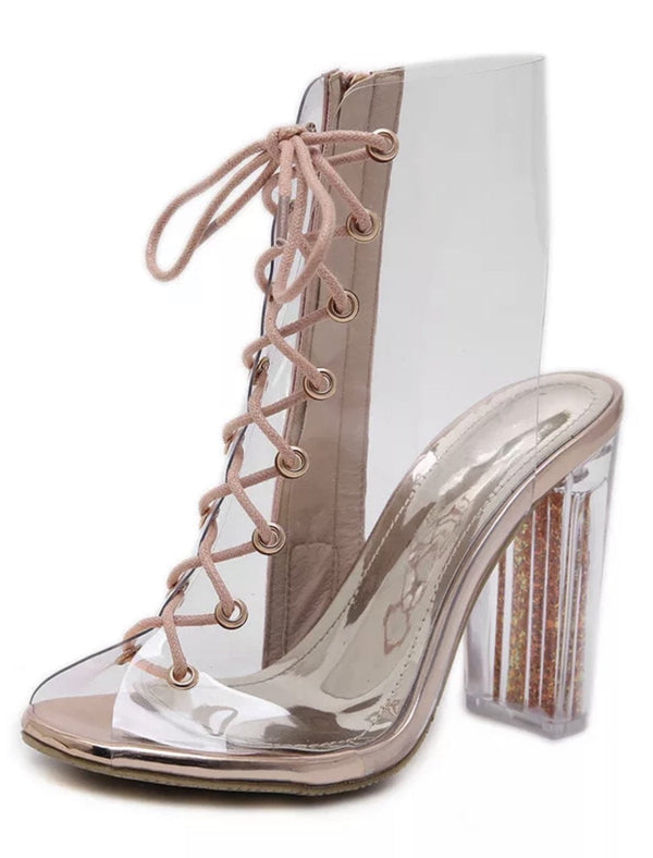 Jessica Bara Alex Lace Up Clear Booties