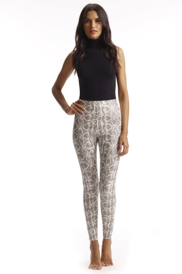 Commando Faux Leather White Animal Print Legging