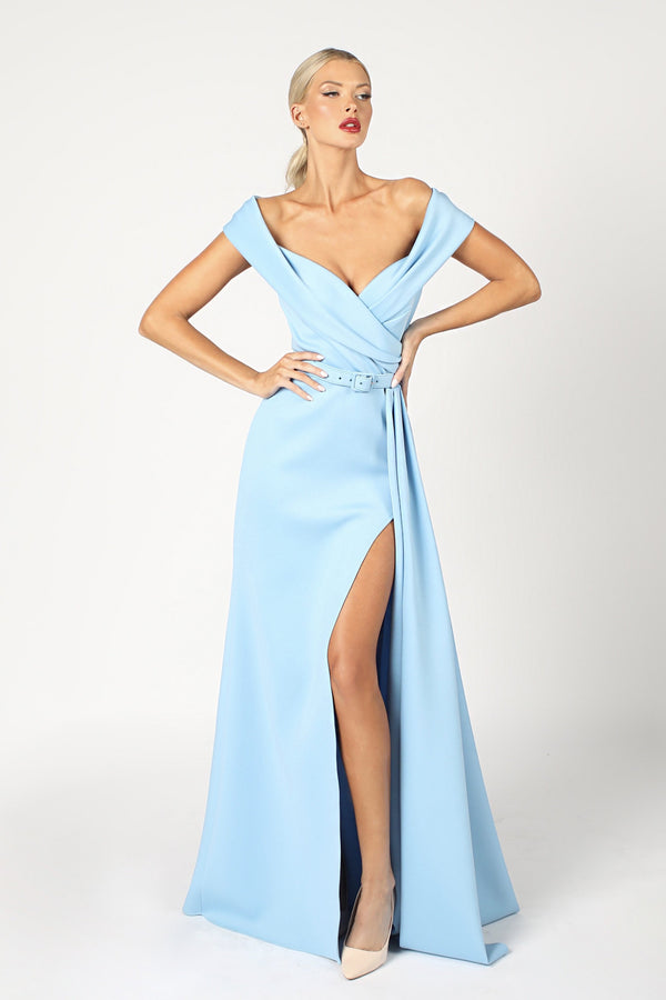 Nicole Bakti Off the Shoulder Belted Gown