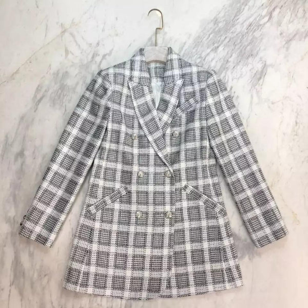Jessica Bara Hannah Plaid Double Breasted Blazer