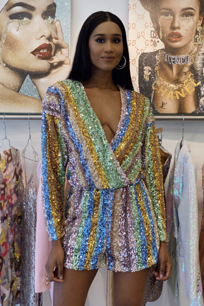 Sale Endless Rose Romina Long Sleeve Rainbow Sequin Romper