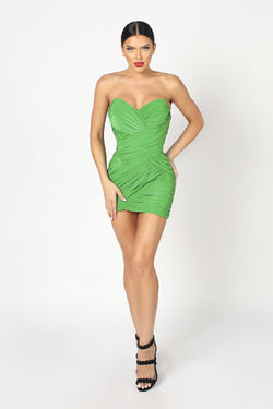 Nicole Bakti Strapless Ruched Bodycon Mini Dress