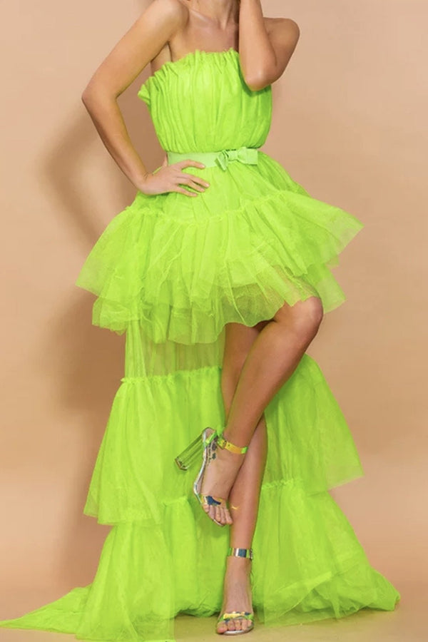 Jessica Bara Farren Strapless Tulle High Low Dress