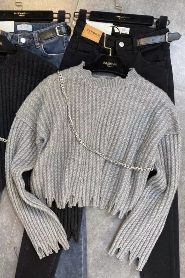 Jessica Bara Amanda Long Sleeve Distressed Chain Sweater