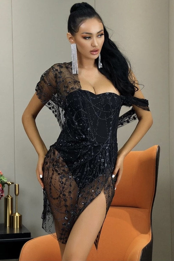 Jessica Bara Yasmin Glitter Sheer Bodycon Mini Dress
