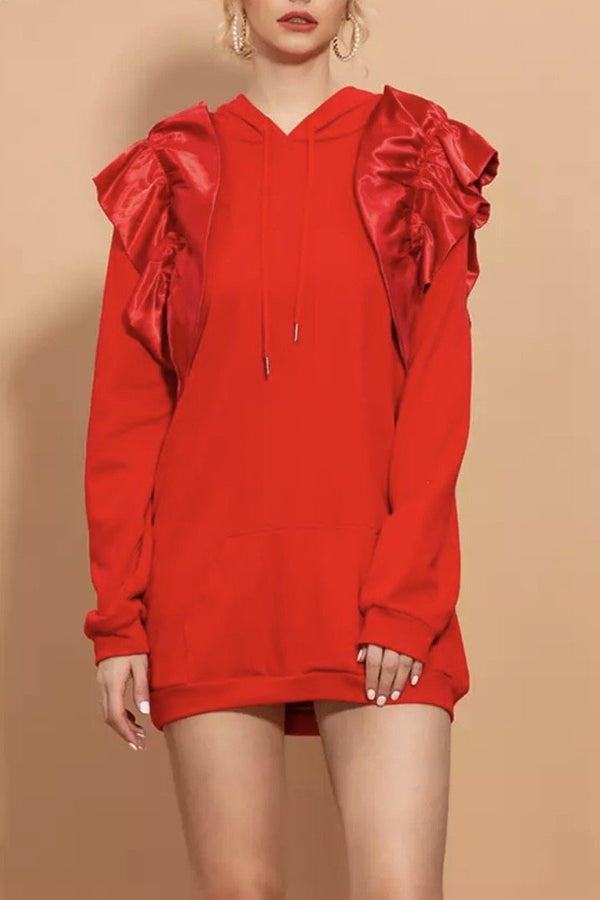 Jessica Bara Cecilia Ruffle Sleeve Sweatshirt Dress