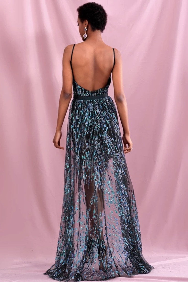 Jessica Bara Itzel Beaded Sheer Two Piece Dress