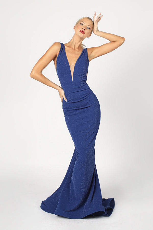 Nicole Bakti V Neck Bodycon Backless Gown