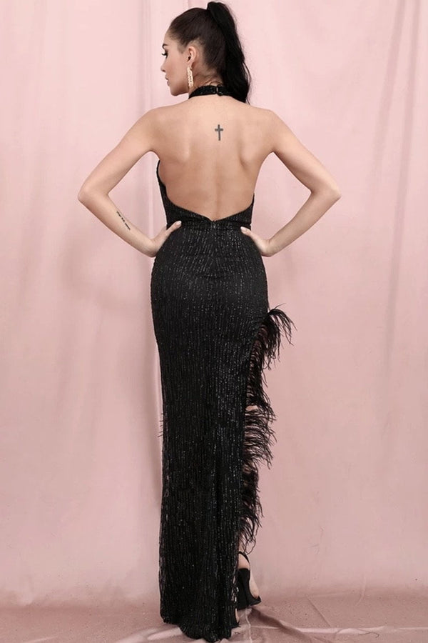 Jessica Bara Frances High Neck Feather Sequin Gown