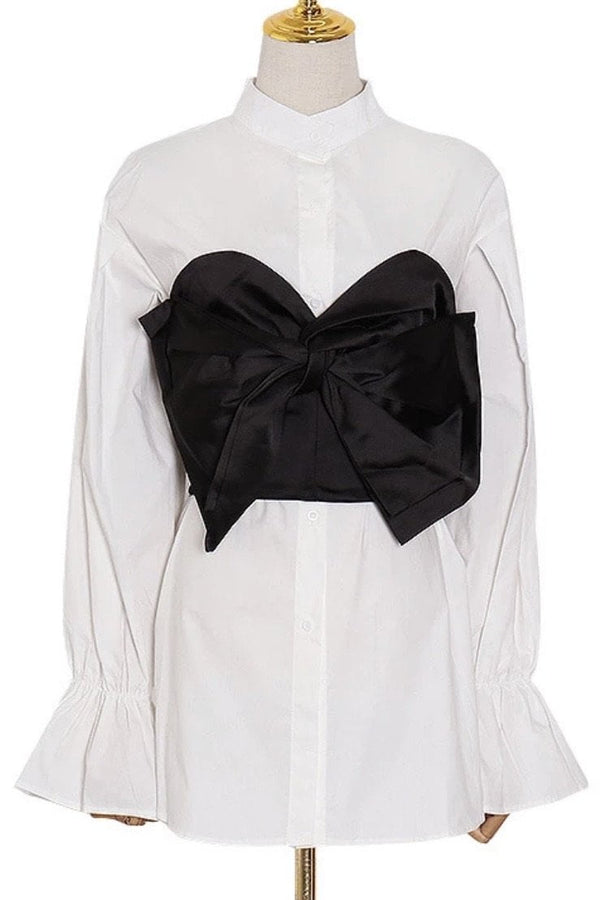 Jessica Bara Delia Long Sleeve Shirt With Bow Crop Top