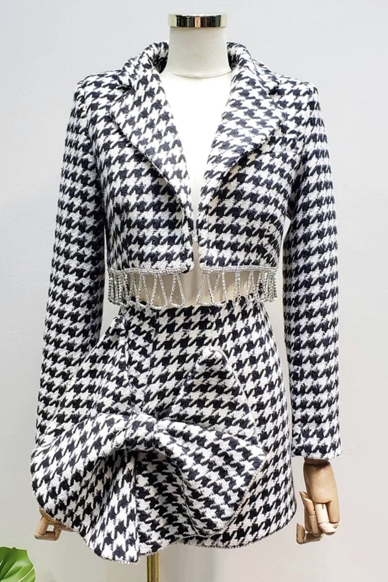 Jessica Bara Lara Houndstooth Cropped Blazer and Skirt Two Piece Set
