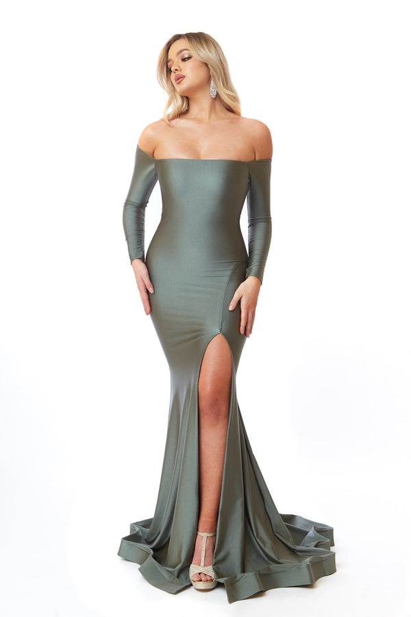 Atria Long Sleeve Off the Shoulder Gown