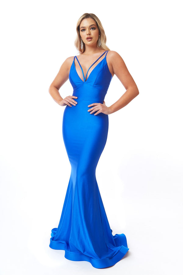 Atria Double Strap Deep V Gown