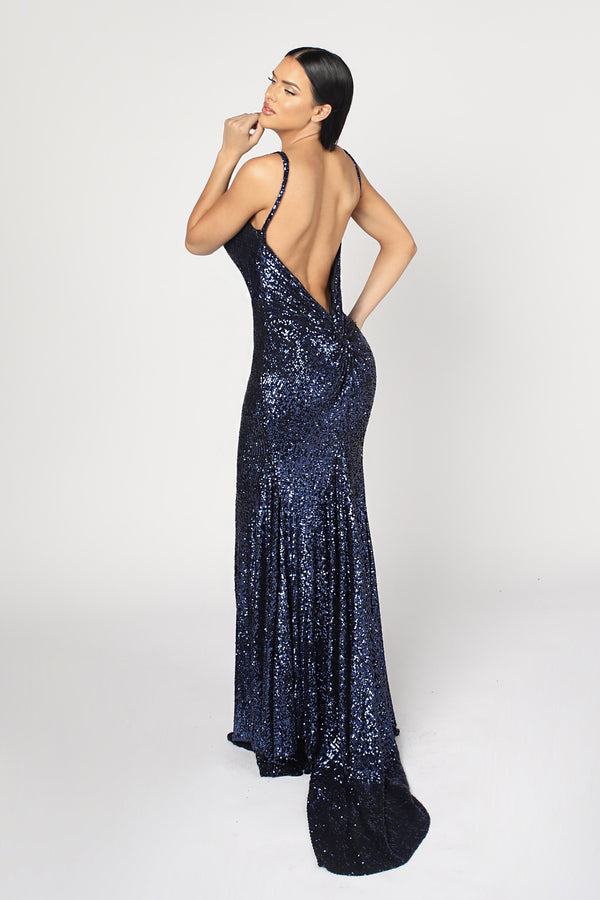 Nicole Bakti V Neck Sequin Backless Gown