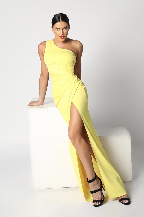Nicole Bakti One Shoulder Leg Slit Gown