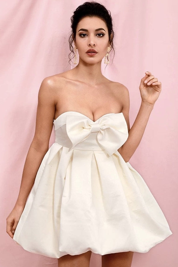 Jessica Bara Koa Strapless Bow High Waisted Mini Dress