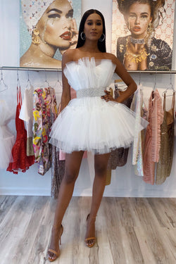 Jessica Bara Fleur Strapless Tulle Mini Dress