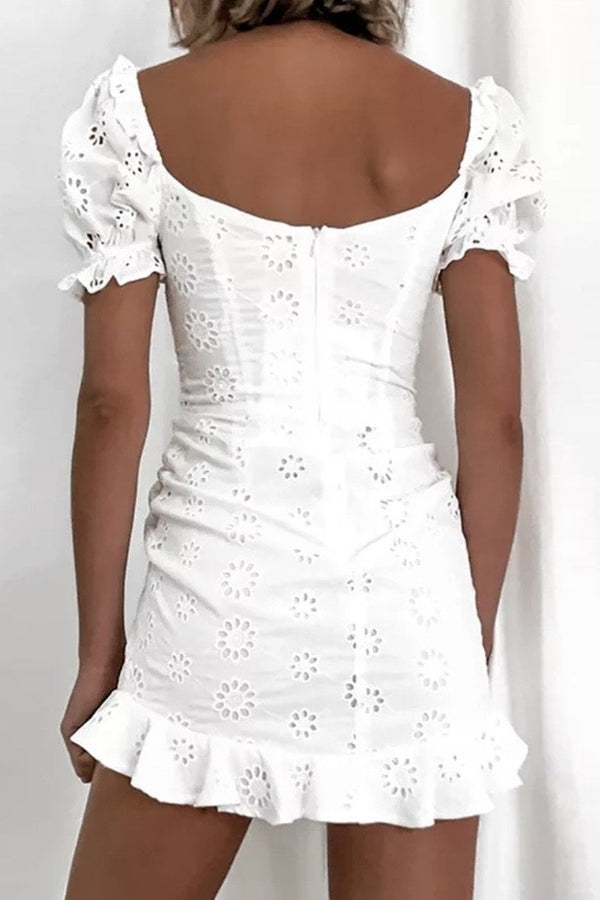 Jessica Bara Addyson Eyelet Ruched Mini Dress