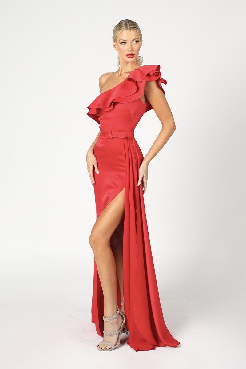 Nicole Bakti One Shoulder Ruffle Slit Gown
