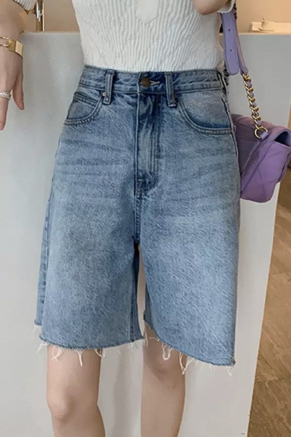 Jessica Bara Maxton High Waisted Denim Shorts