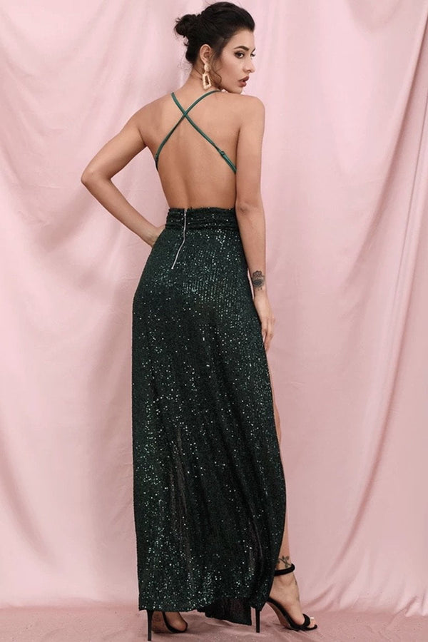 Jessica Bara Tyler V Neck Sequin Double Slit Gown