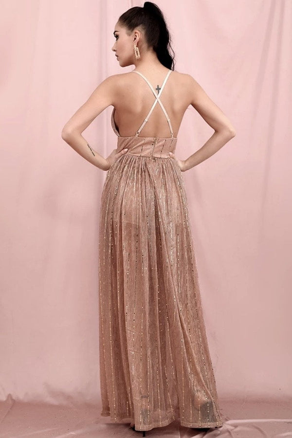 Jessica Bara Candance V Neck Glitter Maxi Dress