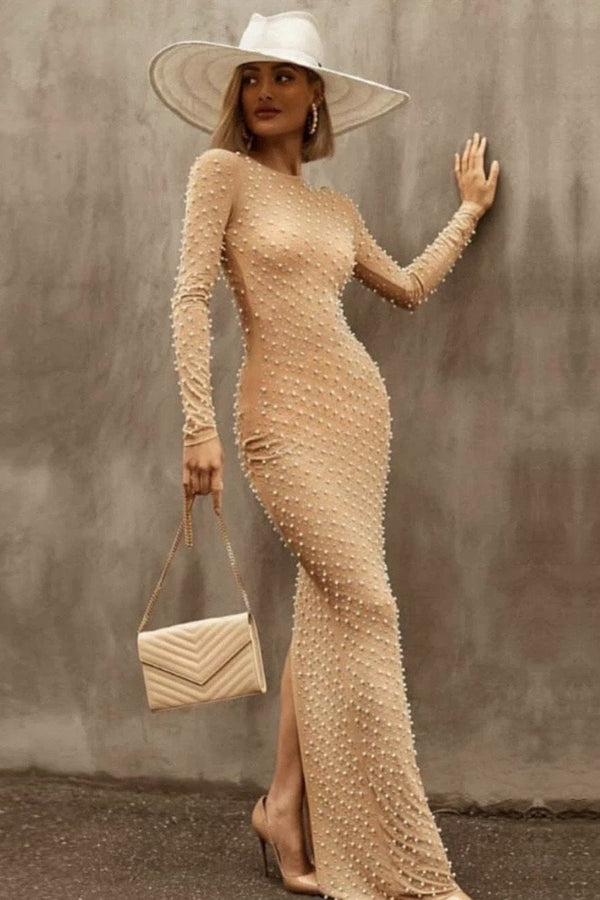 Jessica Bara Iggy Beaded Long Sleeve Maxi Dress
