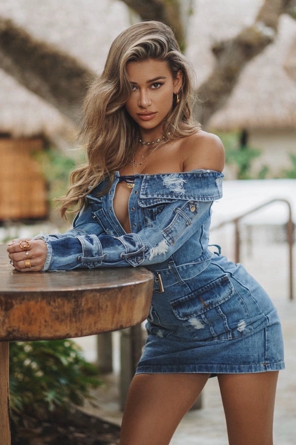 Jessica Bara Raissa Off the Shoulder Denim Mini Dress