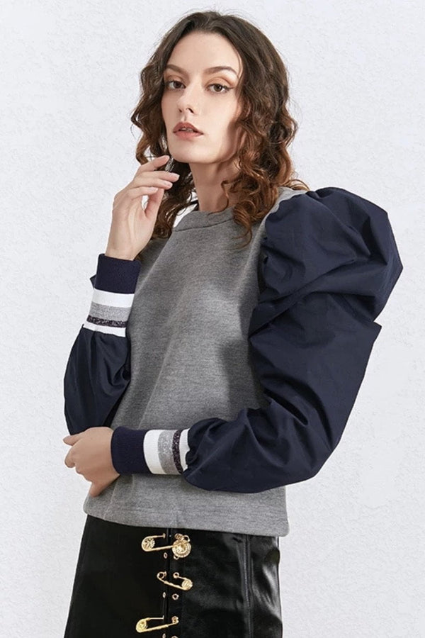 Jessica Bara Sharon Puff Shoulder Varsity Sweatshirt Top