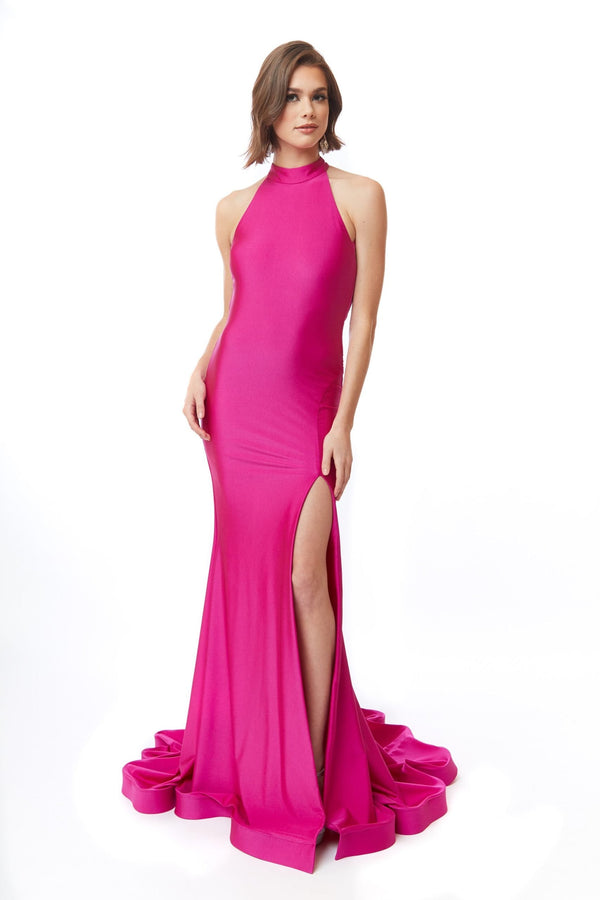 Atria High Collar Open Back Gown