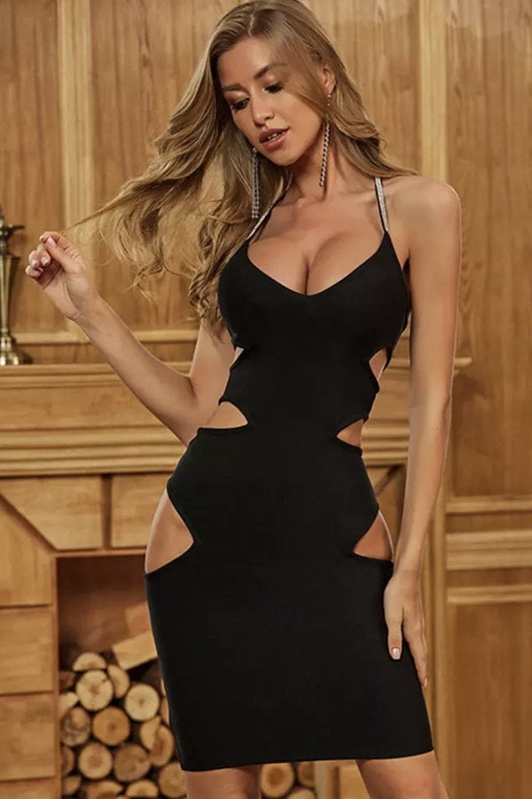 Jessica Bara Venus Cut-Out Backless Mini Dress