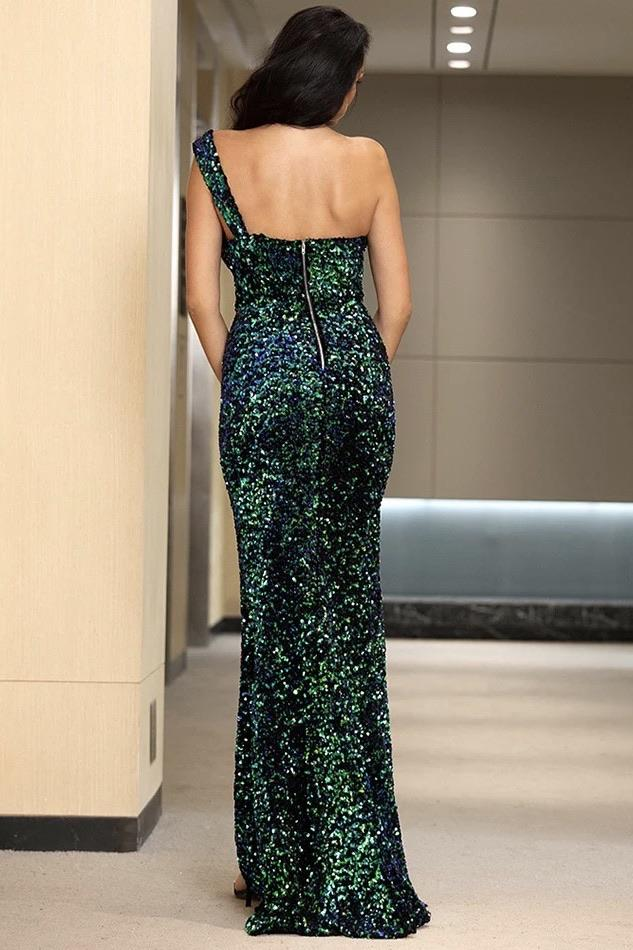 Jessica Bara Weston One Shoulder Sequin Bodycon Gown