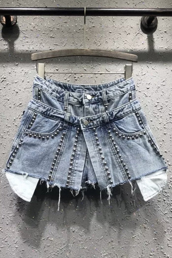 Jessica Bara Bentlee High Waisted Studded Denim Shorts