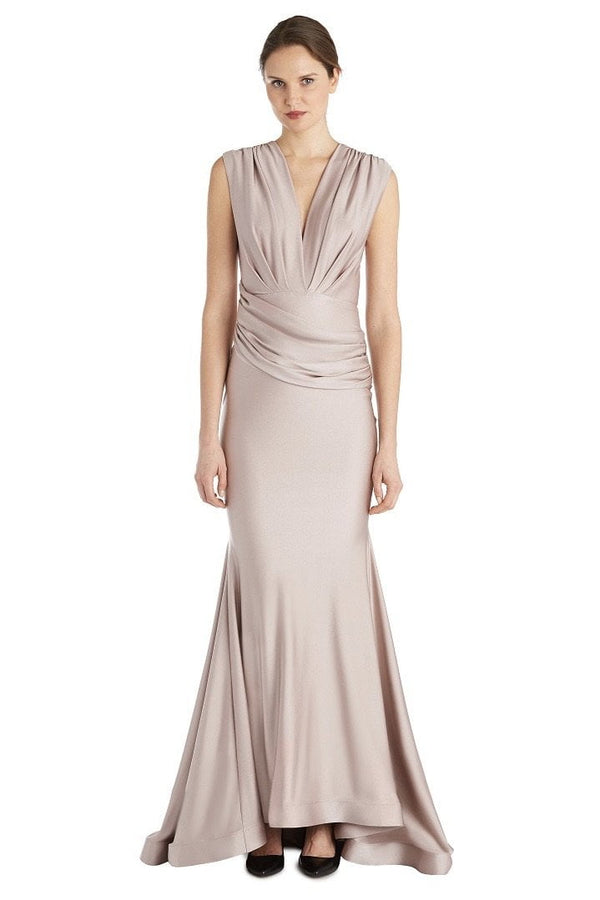 Jessica Bara Donnah V Neck Draped Gown
