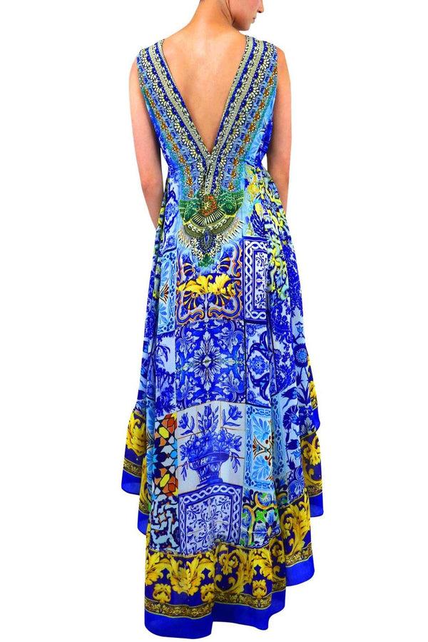 Shahida Parides V Neck Mosaic Tile Print Hi-Low Dress