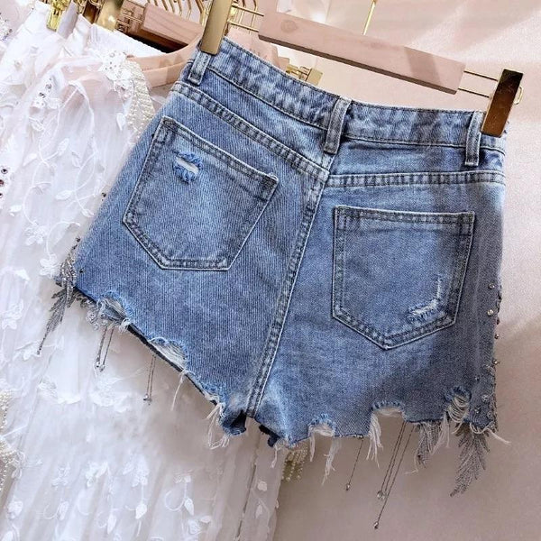 Jessica Bara Zayd High Waisted Rhinestone Denim Shorts