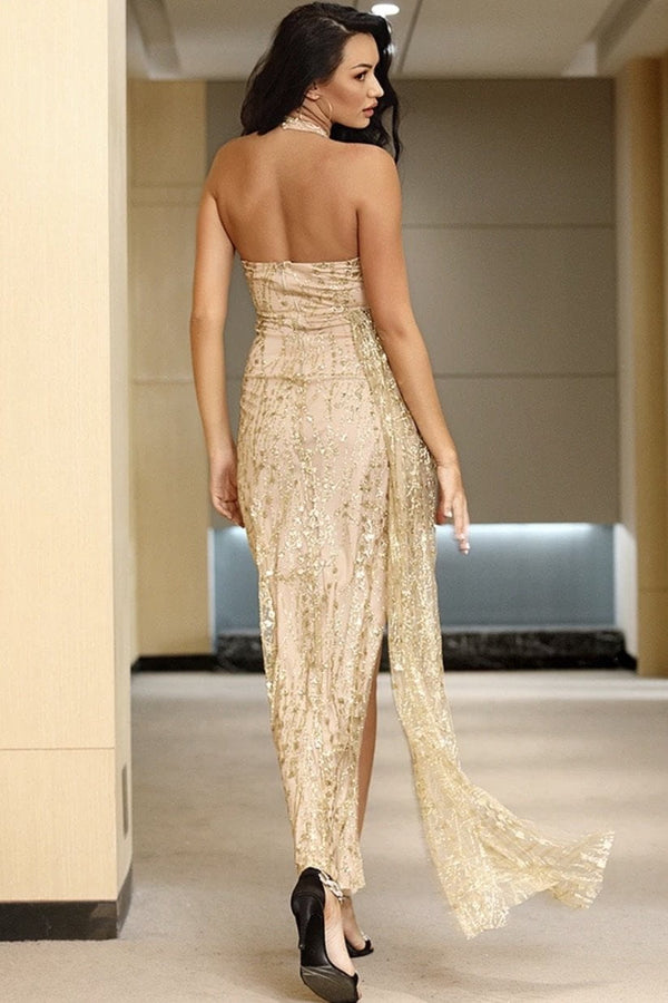 Jessica Bara Elina Open Back Glitter Bodycon Gown