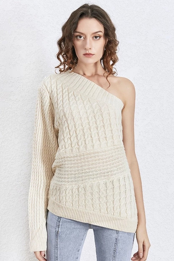 Jessica Bara Morgyn One Shoulder Knitted Sweater