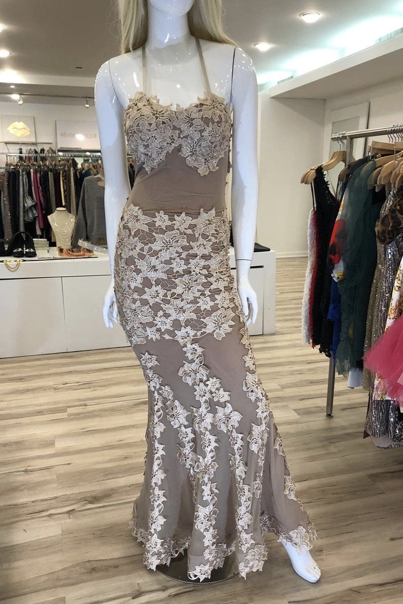 Jessica Bara Marianne Lace Backless Bodycon Gown