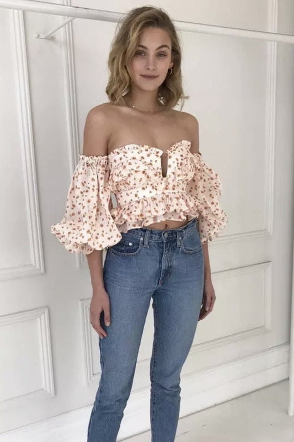 Jessica Bara Jude Off The Shoulder Floral Top