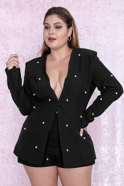 Jessica Bara Janny Plus Size Pearl Embellished Two Piece Blazer and Short Set