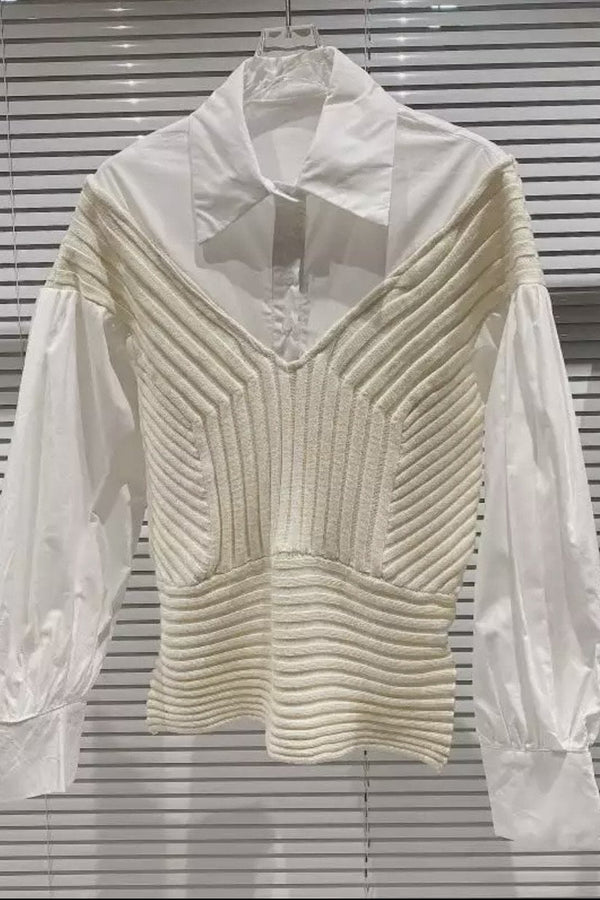Jessica Bara Tara Long Sleeve Sweater Button Down Top