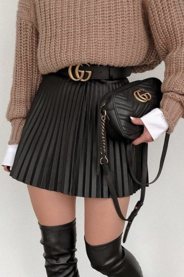 Jessica Bara Tara High Waisted Pleated Mini Skirt