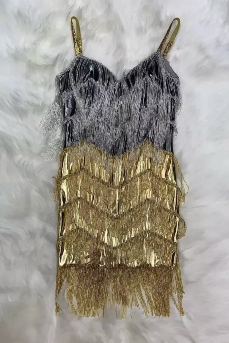 Jessica Bara Arielle Metallic Fringe Mini Dress