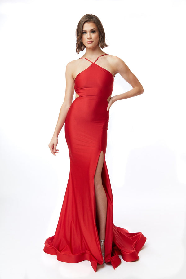 Atria High Neck Strappy Back Gown