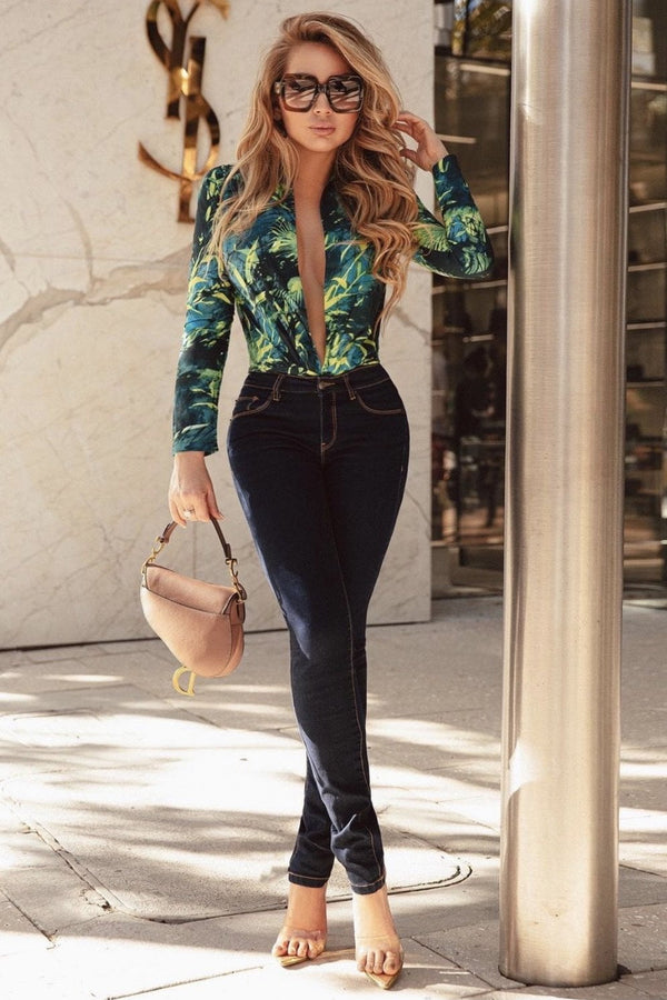 Jessica Bara Nico Long Sleeve Tropical Print Bodysuit