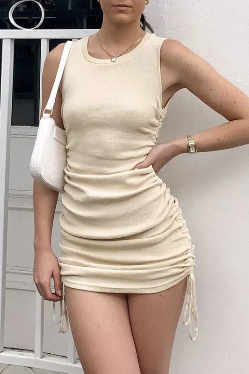 Jessica Bara Jolie Sleeveless Ruched Mini Dress