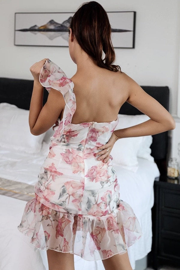 Jessica Bara Millie One Shoulder Floral Mini Dress