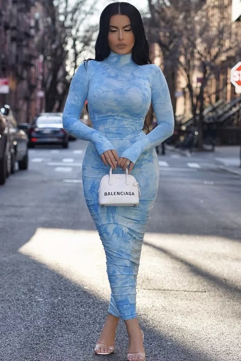 Jessica Bara Ryan Long Sleeve Tie Dye Midaxi Dress